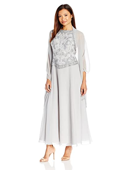 J Kara Womens Petite Long Beaded V Trim Detail Dress With Scarf At