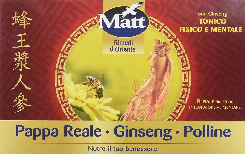 Matt - Pappa Reale Polline Ginseng - Integratore Alimentare contro Stanchezza con Pappa Reale, Polline e Benefici del Ginseng - 8 Fiale - 80 ml