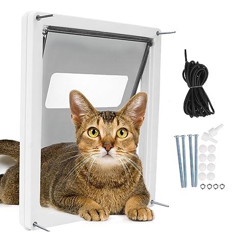 Homdox grande Cat solapa con telescópica Marco Puerta Entrada doble Pet para perro y gato Peso