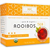 Rooibos Tea Organic African Red Tea - 80 Caffeine Free Red Bush Herbal Tea Bags from HOUSE OF ROOIBOS Tea. Non GMO, USDA Certified Organic Tea. Healthy Herbal Tea