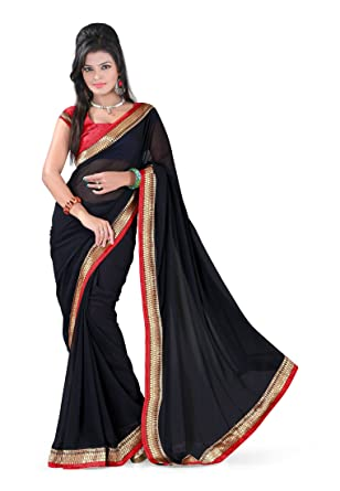 2c65853da7 Fabdeal Indian Bollywood Designer Chiffon Georgette Black Plain With Lace  Border Saree Sari Sarees: Amazon.co.uk: Clothing