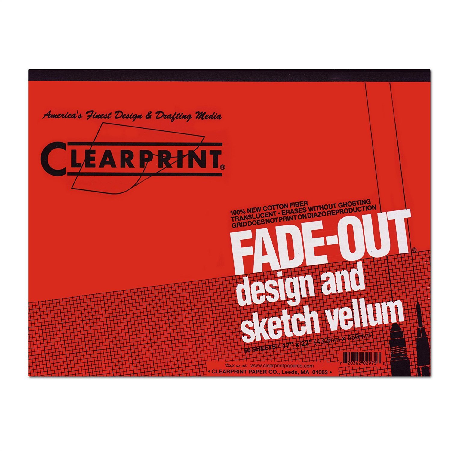 Vellum Archival Quality 8x8 Gridded 50-Sheet Design & Sketch Pad - Clearprint (22 in. L x 17 in. W) by Clearprint