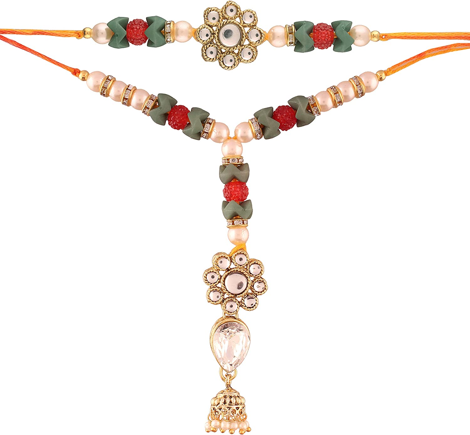 I Jewels Gold Plated Kundan and Jhumki Style Bhaiya Bhabhi Rakhi Set R613CO