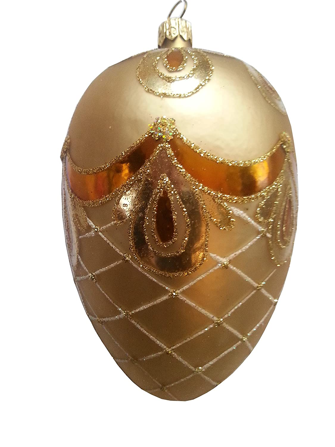 Amazon.com: Faberge Egg Golden Bow. Hand Painted Christmas ...