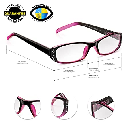 26ee5fe63a Read Optics Diamante Reading Glasses  Women s +2.00 in Crystal Blackberry and  Pink with Rhinestone Studs