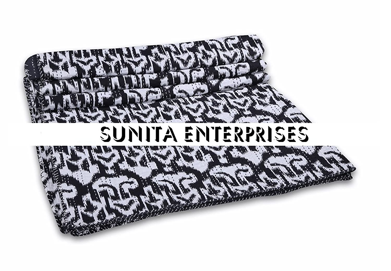 Kantha Quilt Black Ikat Indian Cotton Handmade Bedspread Queen Size Gudari Bedding Decorative Quilts & Bedspreads