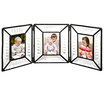 J Devlin Pic 100 3 Triple Picture Frame Multi 2x3 Beveled Glass Folding Frame Holds 3 Photos
