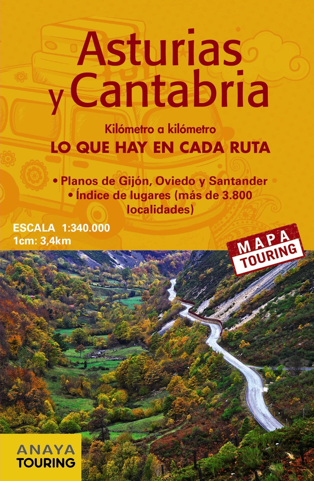 Mapa de carreteras Asturias y Cantabria desplegable , escala 1:340.000 Mapa Touring: Amazon.es: Anaya Touring: Libros