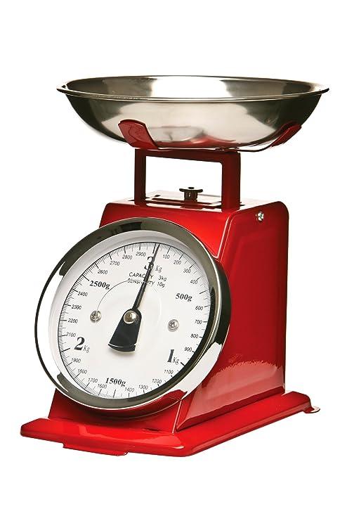Premier Housewares Bascula retro - 3 kilos de color rojo