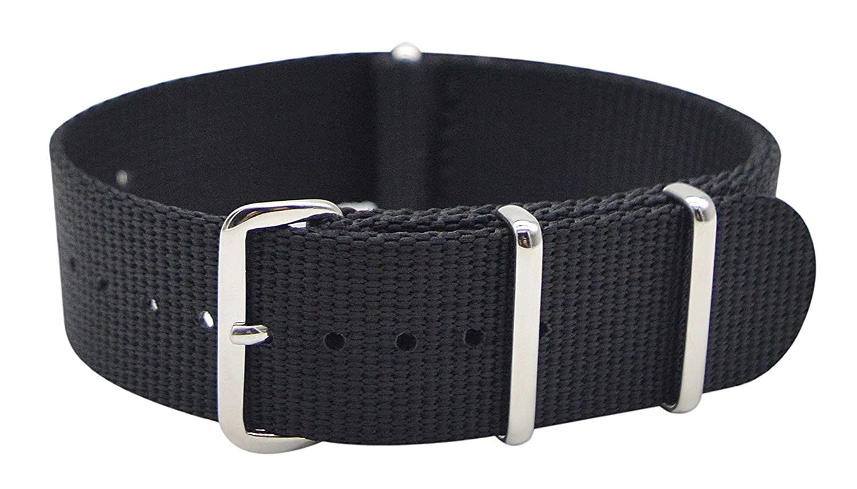 Artstyle Watch Band with Thickとソフトナイロン素材ストラップPolishedステンレススチールバックル – Choice Of Color &横幅 22mm ブラック 22mm|ブラック ブラック 22mm B07D22CQ6M