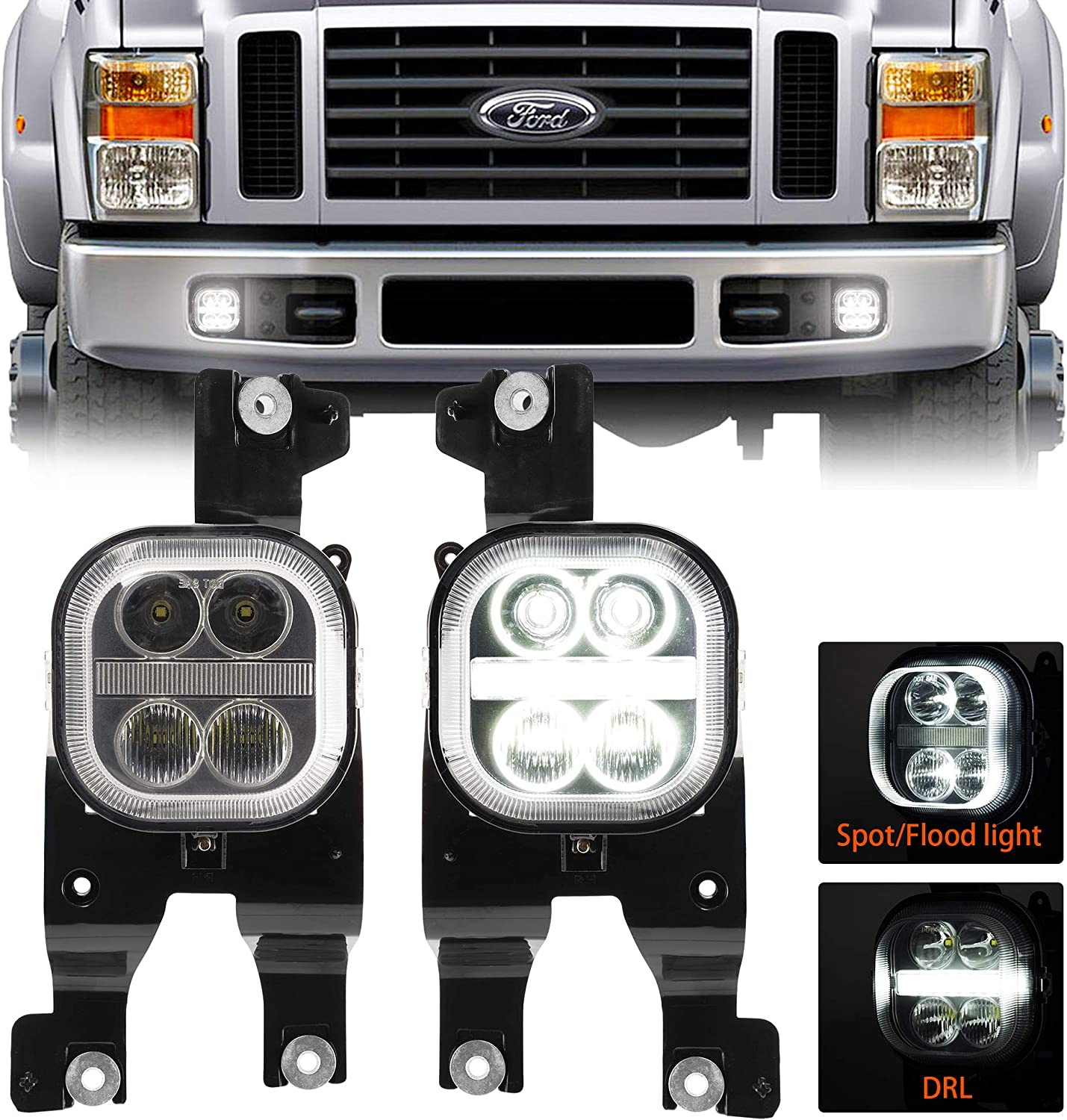 LED Fog Light Assembly with Daytime Running Lights for 2008 2009 2010 Ford F250 F350 F450 F550 Bumper Driving Fog Lamp Kit Plug /& Play