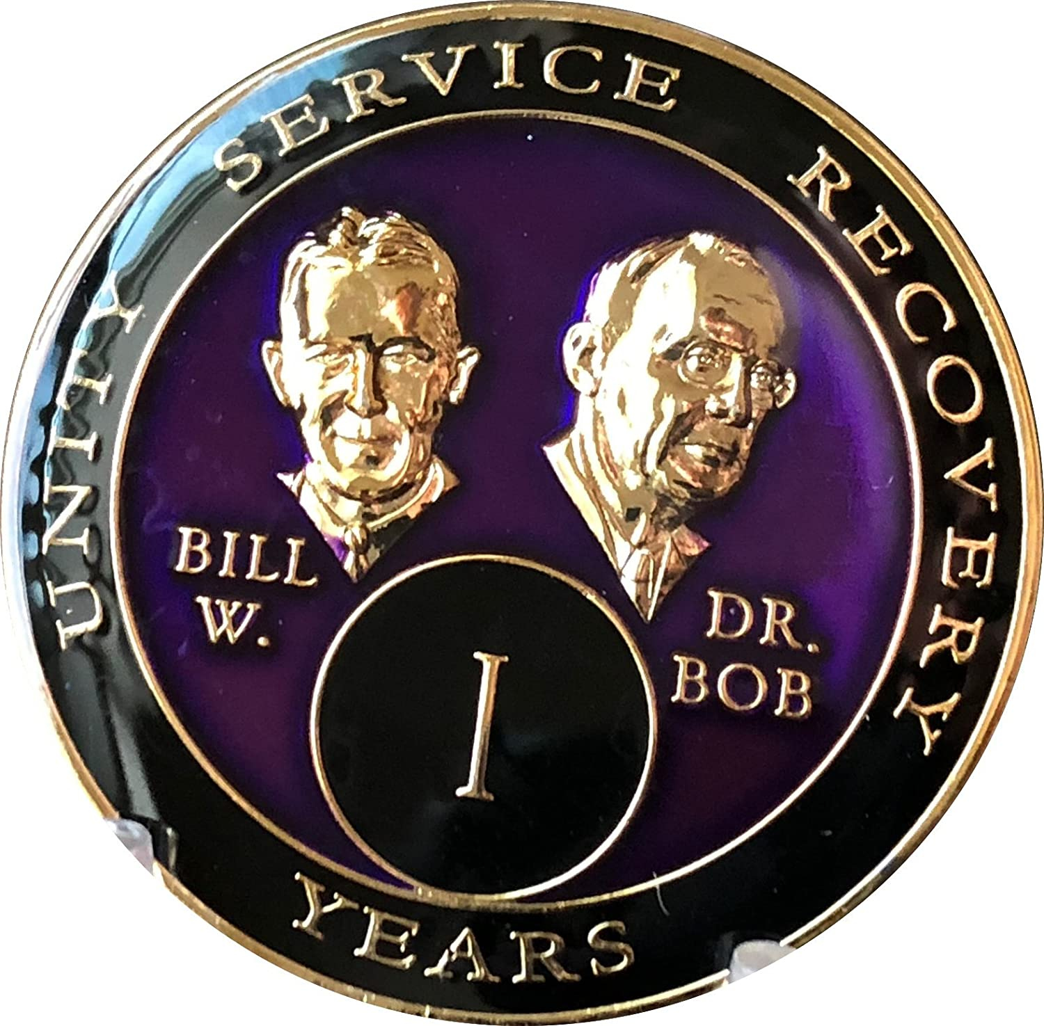 1 year AA Medallion Purple Tri-Plate Founders Bill & Bob Chip Recovery Mint