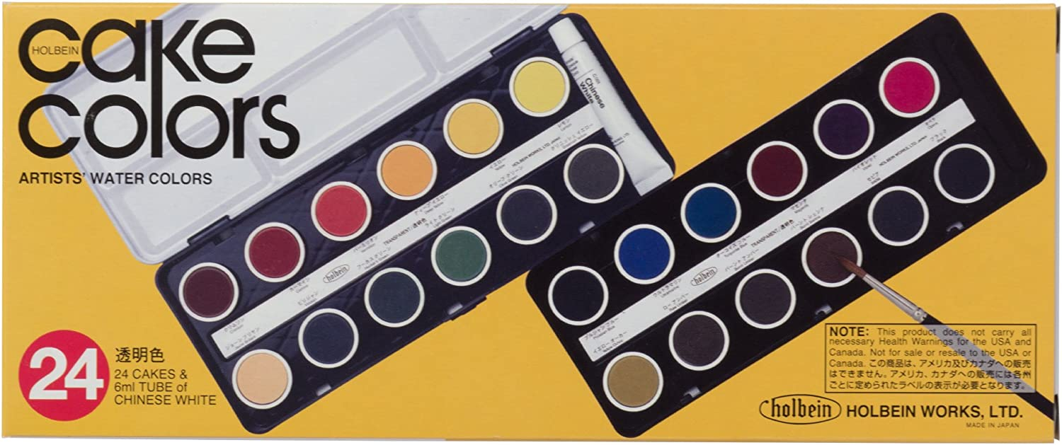 24 color set Holbein cake solid color transparent watercolors japan import