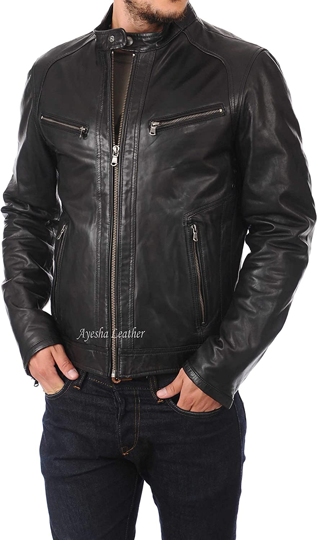 Ayesha Mens Leather Jackets Motorcycle Bomber Biker Genuine Lambskin 314
