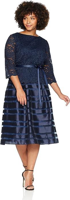 7d3dce7bbd1 Alex Evenings Women s Plus-Size Tea Length A-Line Dress with Tie Belt