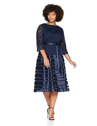 aef79f61bf8 Alex Evenings Women s Plus Size Tea Length a-Line Dress with Tie Belt