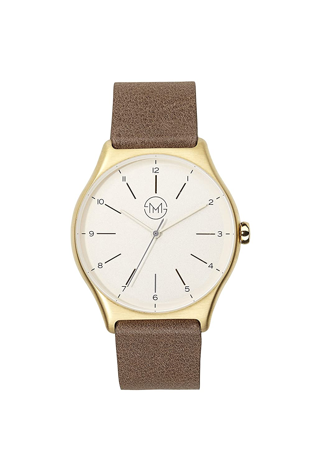 slim made one 09 - Extra schlanke unisex Armbanduhr in gold - braun