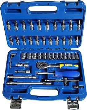 S&R Juego de llaves de vasos tuercas y destornilladores 1/4. Caja ...