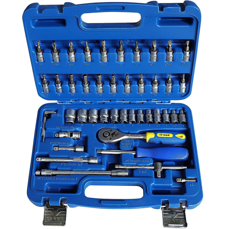 S&R Juego de llaves de vasos tuercas y destornilladores 1/4. Caja de herramientas profesional con 46 insertos en acero cromo vanadio. Maletí n destornilladores e insertos profesionales. S&R Industriewerkzeuge GmbH