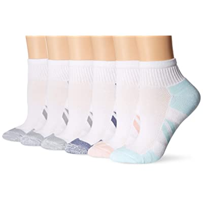 Essentials Women's 6-Pack Peformance Cotton Cushioned Athletic Ankle Socks: Clothing