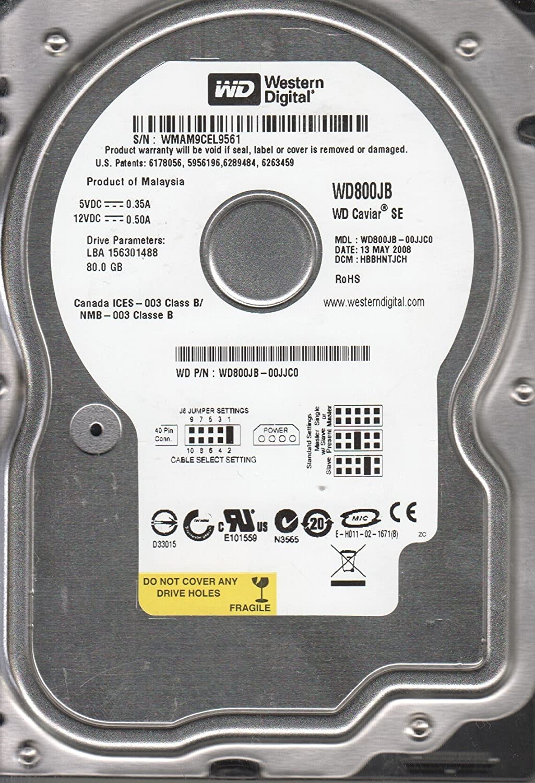 WD800JB-00JJC0 Western Digital 80 GB IDE 3.5 Hard Drive DCM DSBHNTJCH