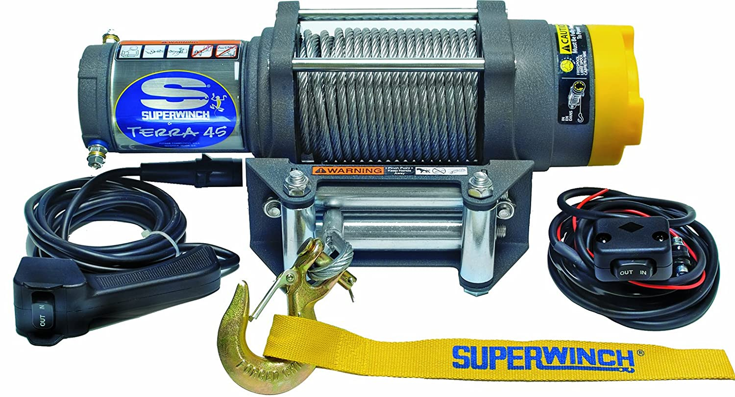 Amazon.com: Superwinch 1145220 Terra 45 ATV & Utility Winch (4500lbs/2046kg  Rating): Automotive