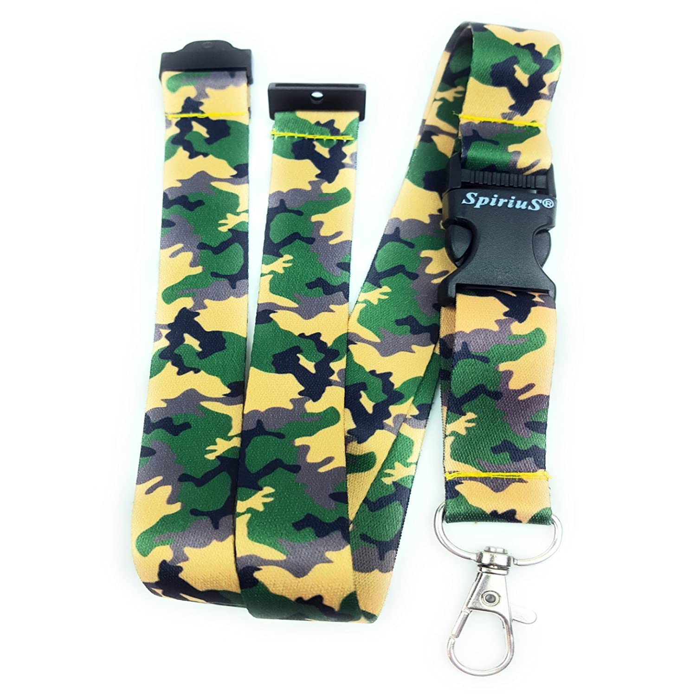 Cordón SpiriuS para colgar tarjetas de identificación o llaves., color Army Camouflage
