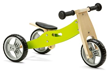 847ea9f13bf Image Unavailable. Image not available for. Colour: Nicko Mini 2 in 1  Wooden Balance Bike Toddler Trike Green 18 months +