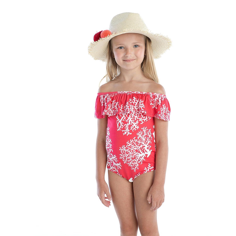 Masala Kids Girls Little Flounce One Piece Sea Coral,