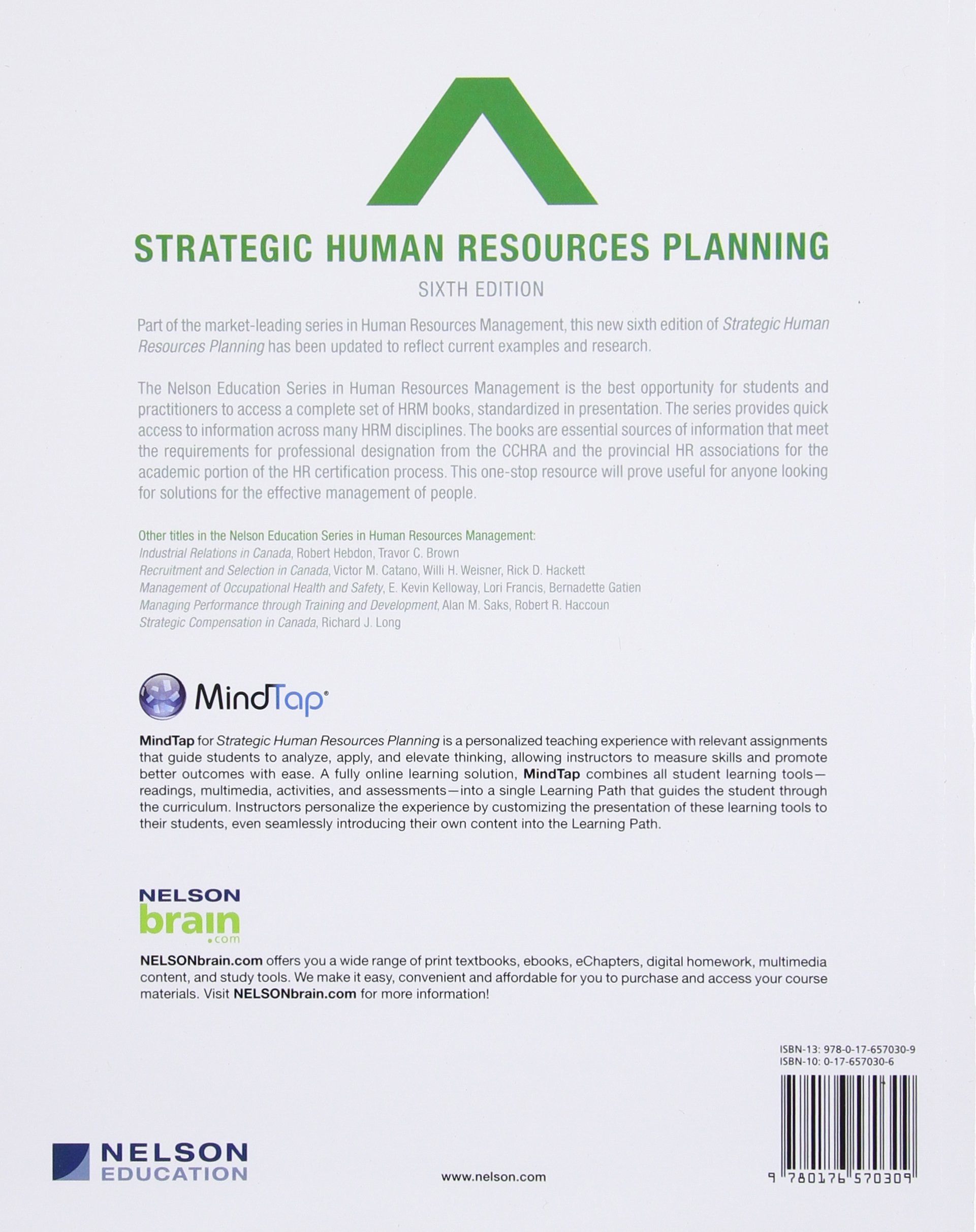 strategic human resources planning books ca