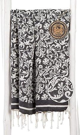Femmes 100/% coton été//Plage Noir Paisley Floral BAIN DE SOLEIL