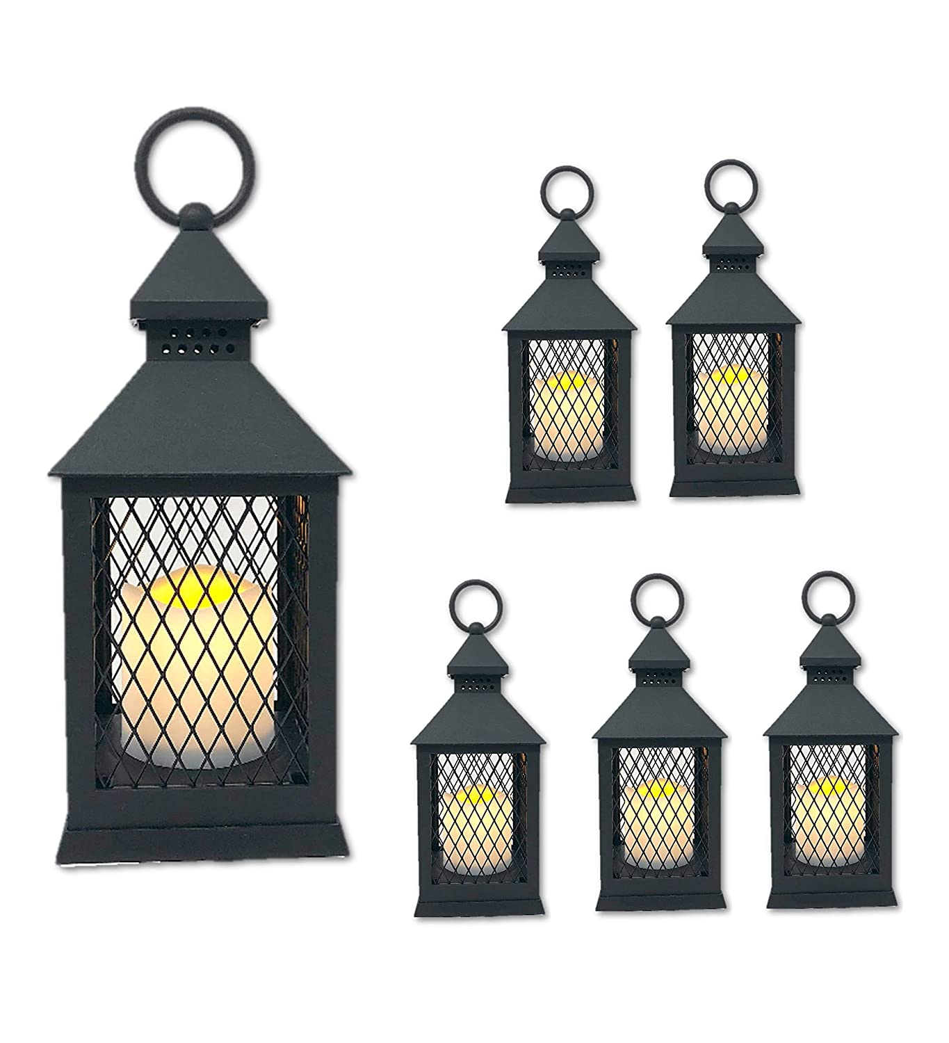 """The Nifty Nook """"Farm House Lanterns"""" {6 Pc Set} 10"""" Decorative Lanterns with Flameless LED Lighted Candle, 5HR Timer, Weather Resistant - Decorative Outdoor Lanterns - Black"""