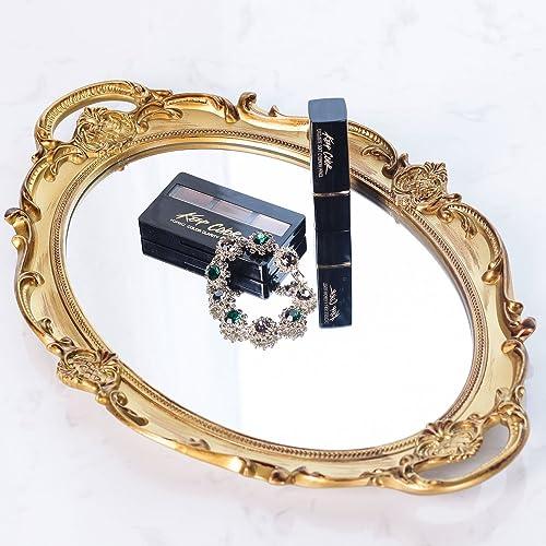RUMCENT Bandeja de Espejo Decorativa de plástico de elipse Antiguo, Organizador de Maquillaje, Organizador