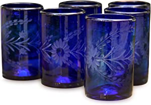 NOVICA Hand Blown Recycled Glass Etched Blue Drinking Glasses, 14 Oz 'Blue Blossoms' (Set Of 6)