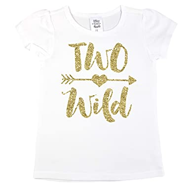 85c28b1c9 Amazon.com: Olive Loves Apple Two Wild 2nd Birthday Shirt Girl Glitter Gold  Two Wild 2nd Birthday Outfit for Toddler Girls: Clothing