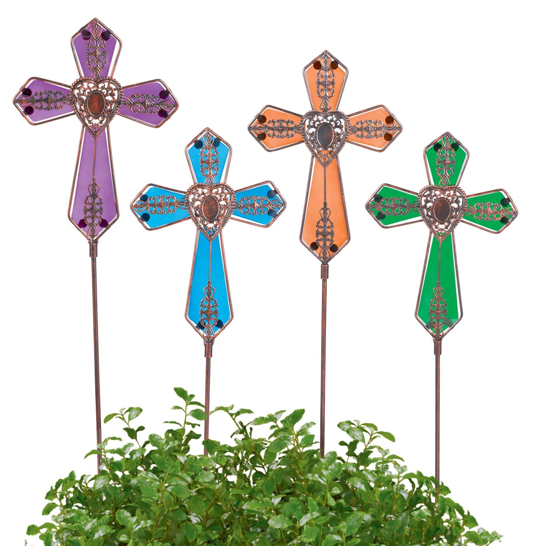 Grasslands Road 24'' Metal and Glass Cross Stake (8 Pack), Large, Assortment