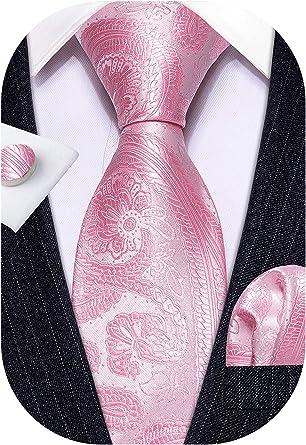 Barry.Wang Designer - Juego de corbata, pañuelo cuadrado para bolsillo y gemelos, para hombre, seda, diseño de Paisley Rosa rosa Talla única