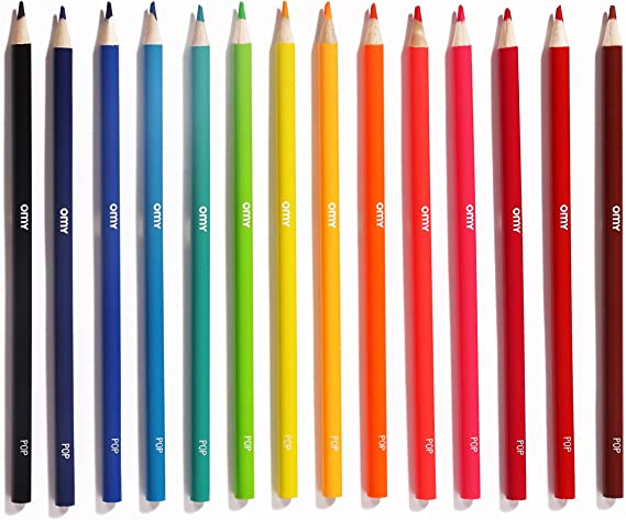 Set of 16 Omy Signature Pop Colored Rounded Pencils Box