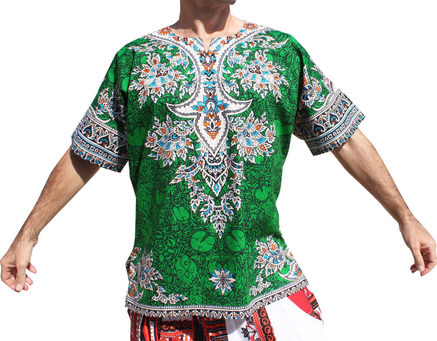 RaanPahMuang Indian Dashiki BouBou Shirt African Plain Front Short Sleeve Cotton variant31800AMZ