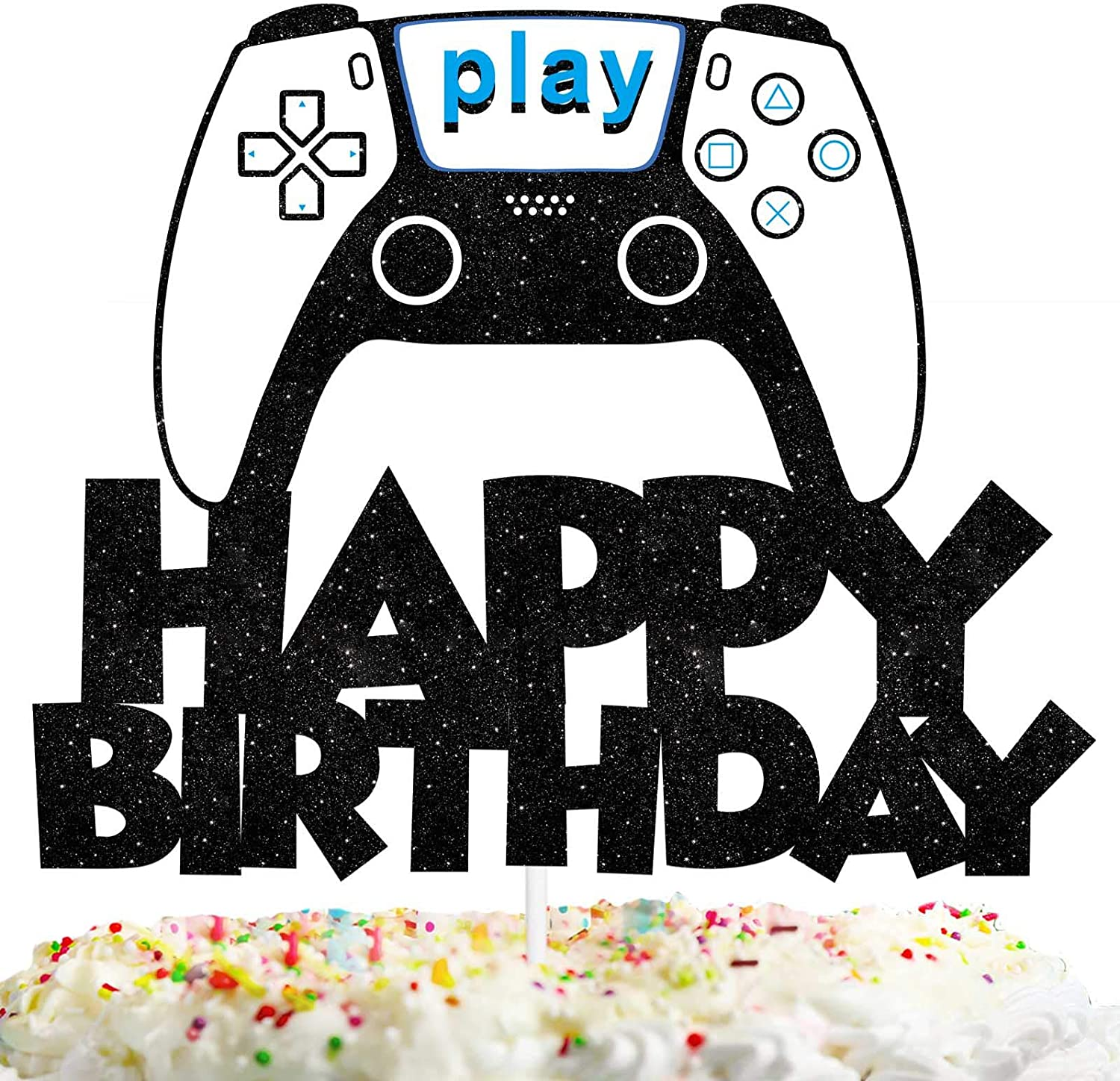 Happy Birthday Cake Topper Games Theme Gamepad Party Decor Picks for Kids Video Game Birthday Decorations Supplies