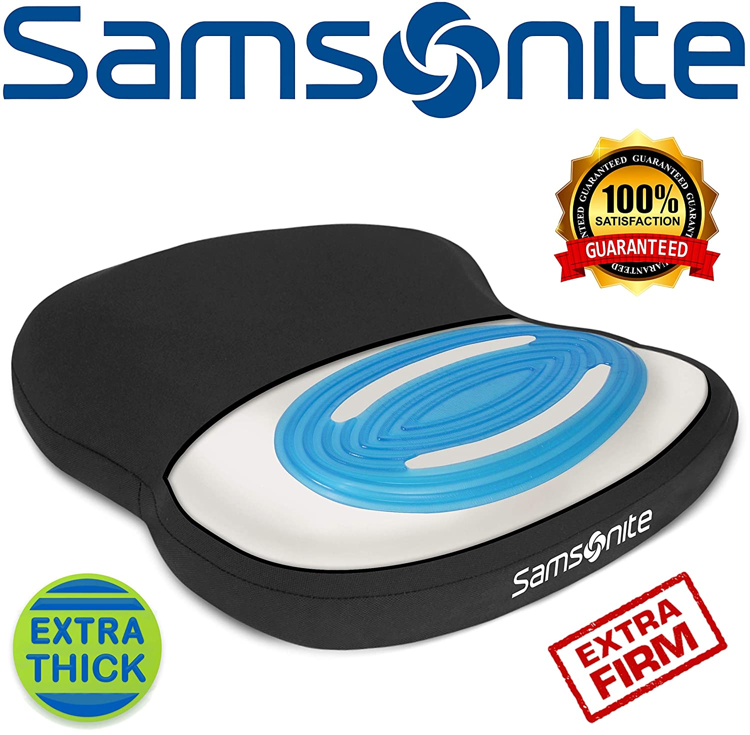 Samsonite SA6020 -Extra Firm & Thick Seat Cushion with Cooling Gel [Cooling effect is subjective, and varies by personal sensitivity] - Premium Memory Foam - Fits Most Seats - Non-Slip Bottom