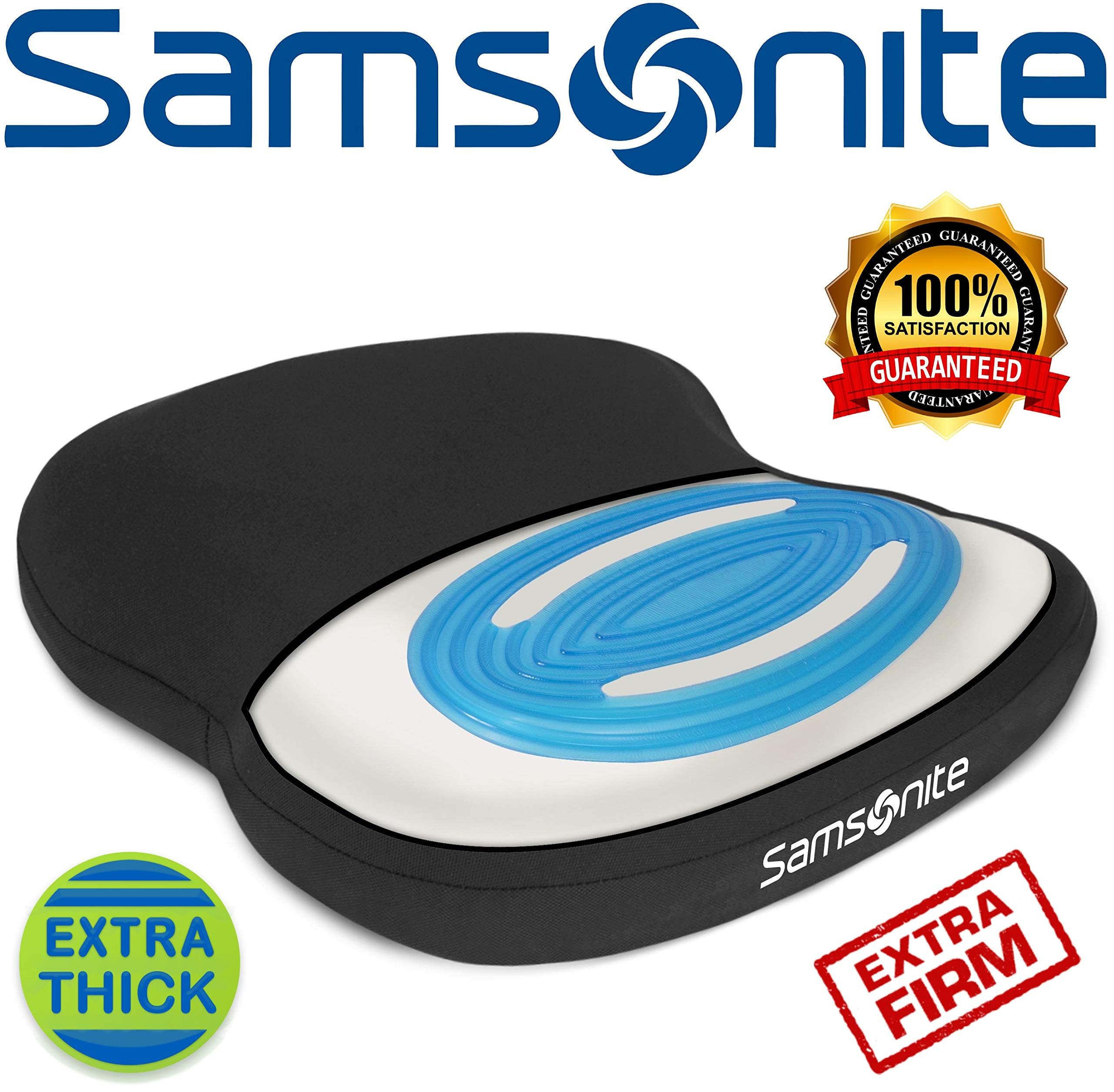 Samsonite SA6020 -  Extra Firm & Thick Seat Cushion with Cooling Gel [Cooling effect is subjective, and varies by personal sensitivity] - Premium Memory Foam - Fits Most Seats - Non-Slip Bottom by Samsonite