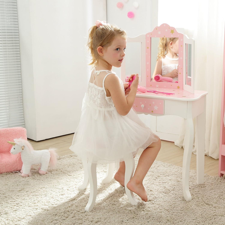 Teamson Kids Gisele Vanity Table Stool Set, Pink / Star, T: 23.50x11.50x38.50 Small: 10.75x10.75x14.50 TD-11670K