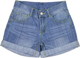 Bienzoe Niña Algodón Mezclilla Pantalones Cortos