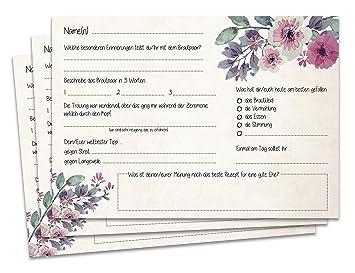 Gästebuchseiten 50 Gästekarten DINA5 - Schöne Fragekarten zum Ausfüllen und Einkleben ins Gästebuch Hochzeit mit Fragen