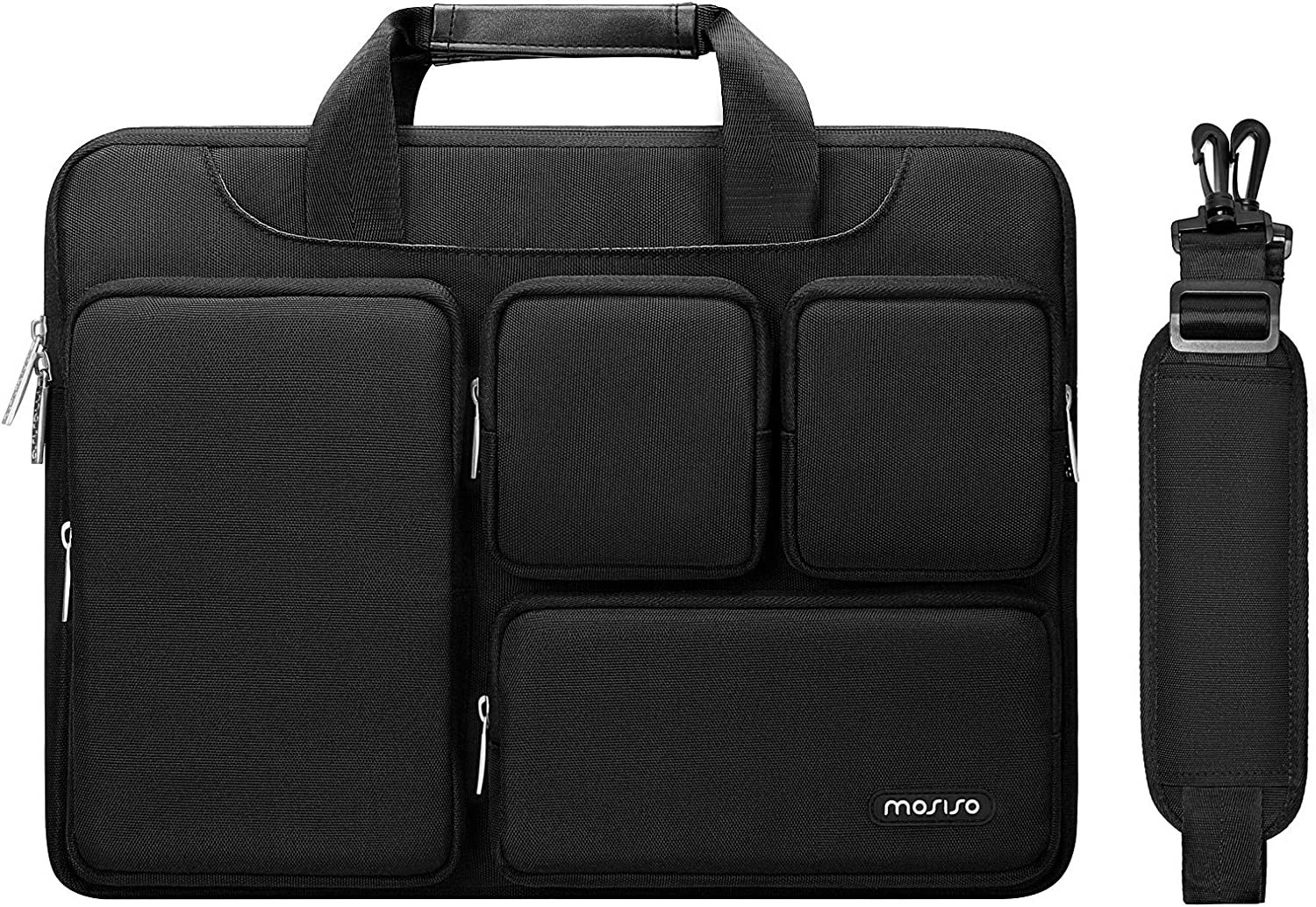 MOSISO Laptop Shoulder Messenger Bag Compatible with MacBook Pro 16 inch A2141, 15 15.4 15.6 inch Dell HP Acer Chromebook, Polyester Briefcase Sleeve with 4 Front Zipper Pockets & Trolley Belt, Black