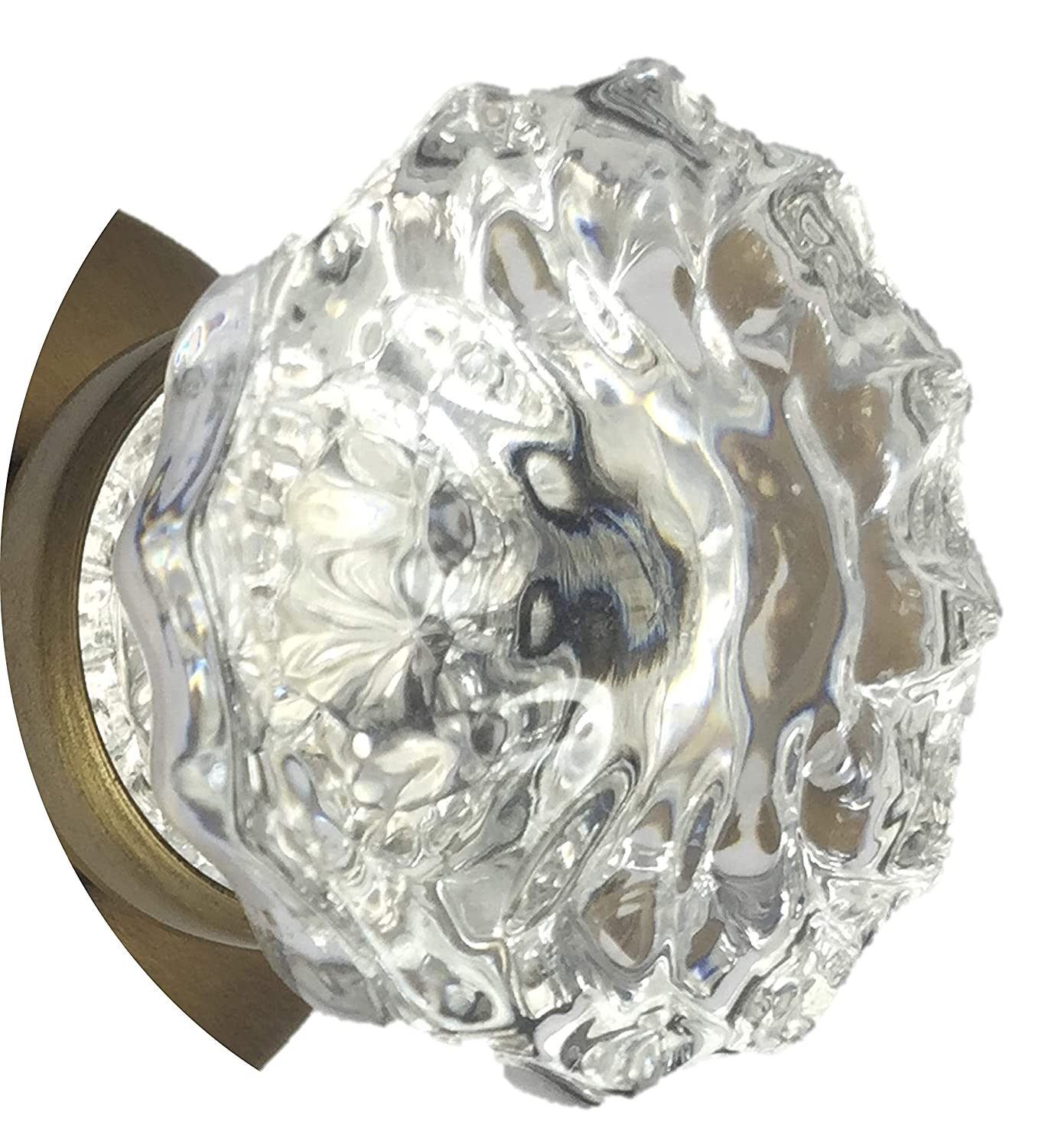Perfect Replica of the most popular Antique Knobs that they are interchangeable with the Antiques Depression Crystal /& Antique Brass stem with set screws and spindles 1 pair includes premium spindle RoussoUSA 2AB 2 Knobs