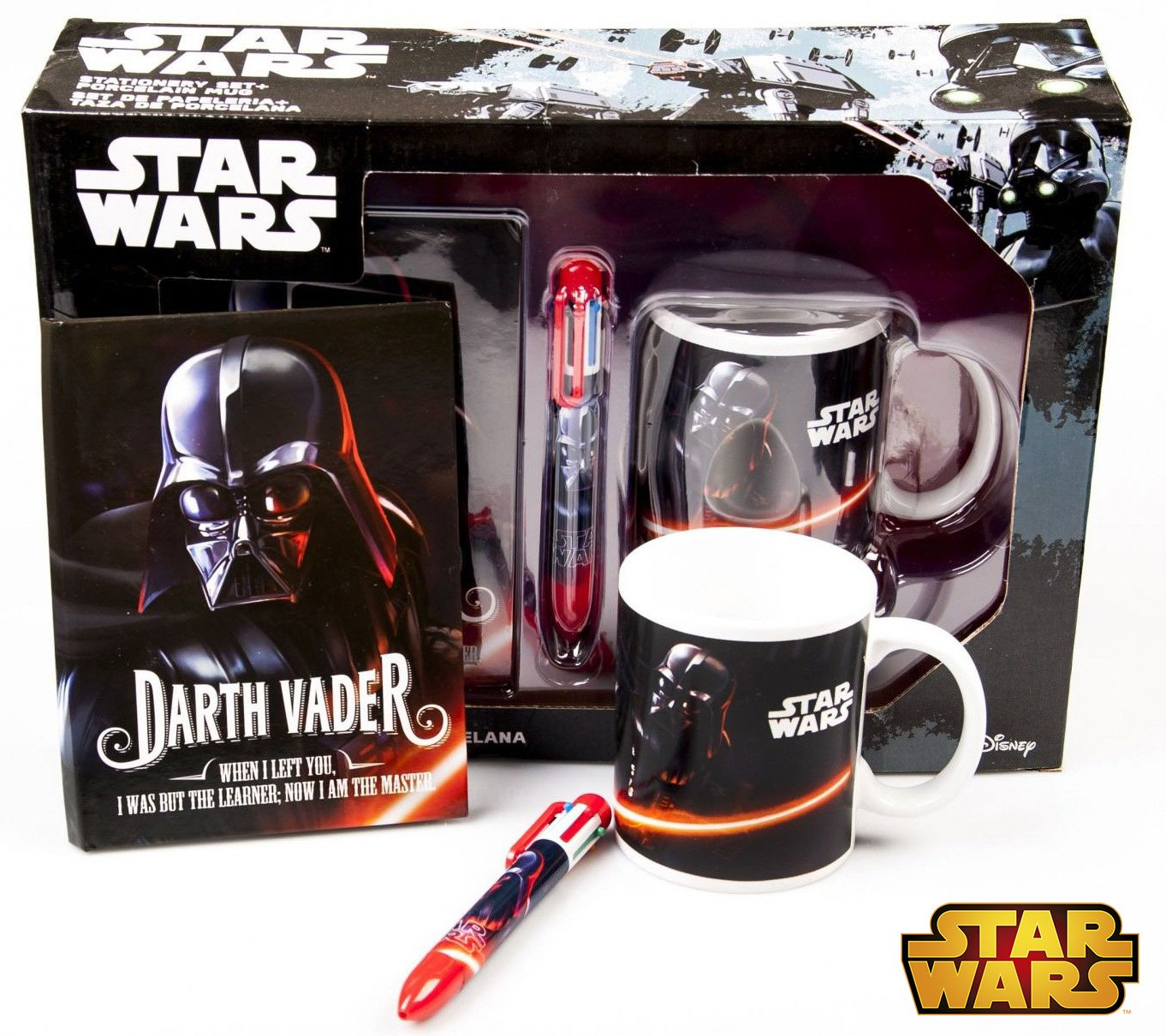 Kids Licensing Set Cadeau Star Wars-Un Journal Intime-Un Stylo 4 Couleurs-Un Mug, SW92305 Kids Euroswan