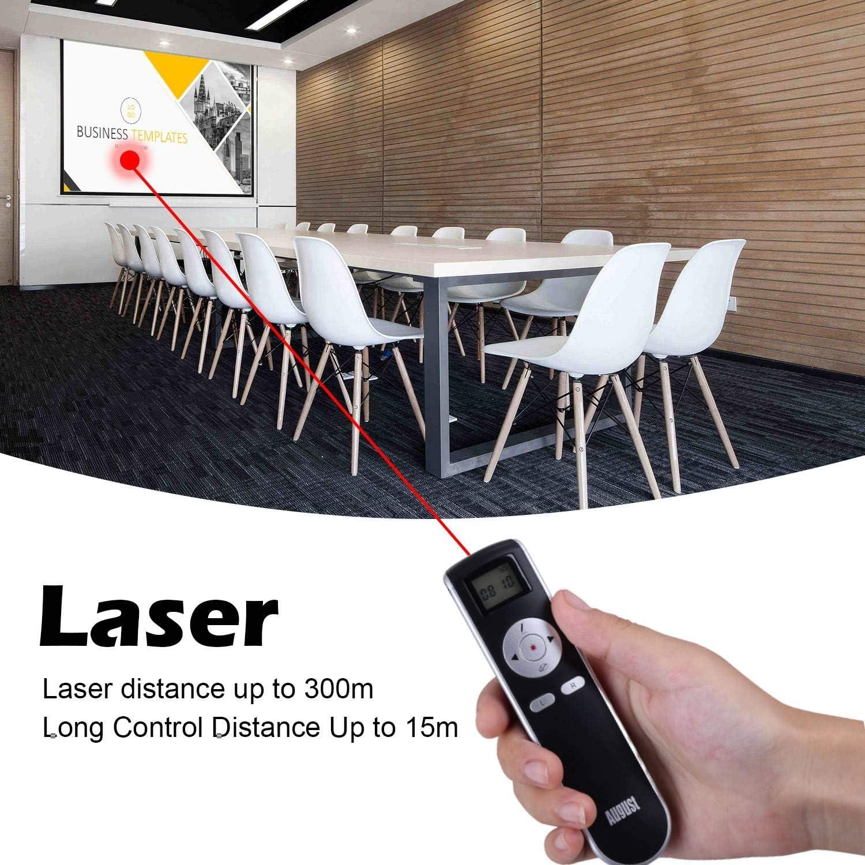 August LP315 Mando para presentaciones con puntero Diapositivas Powerpoint Blanco Mando inal/ámbrico con Air Mouse y Bater/ía Interna Recargable Compatible con para MAC y Windows