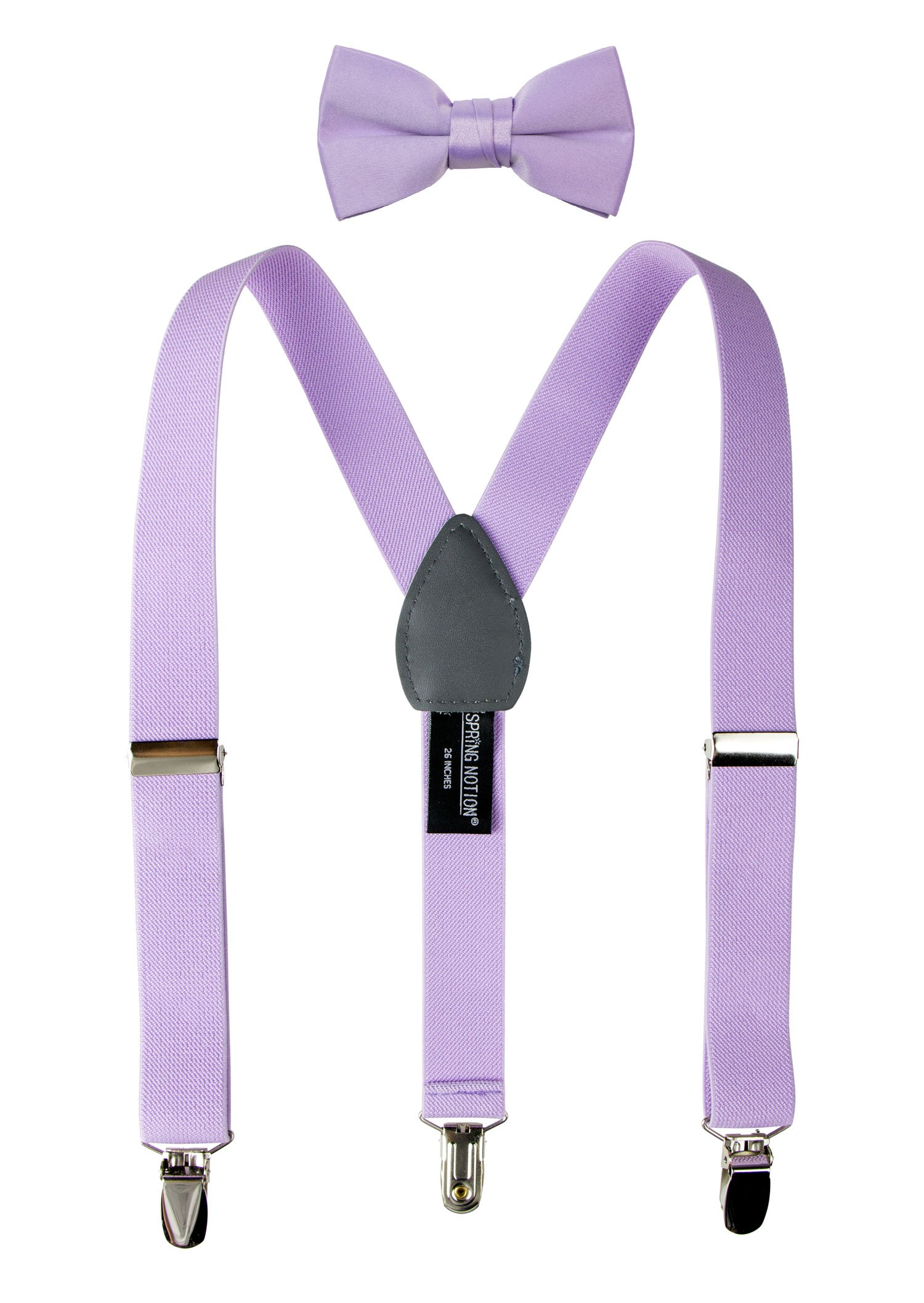 Spring Notion Boys' Suspenders and Solid Color Bowtie Set Lilac Large